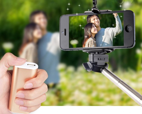 Selfie power bank with monopod
